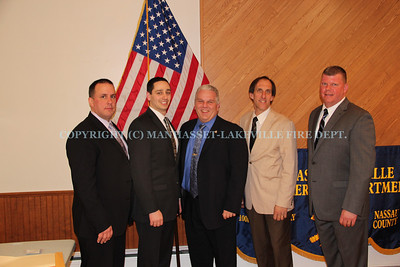 The Manhasset-Lakeville Fire Department Chiefs for 2014-2015: (Left-to-Right) 4th Deputy Chief Chris Pisani, 3rd Deputy Chief Kirk Candan, Chief of Dept. Michael Farrone, 2nd Deputy Chief Mark Kiess, 1st Deputy Chief Scott Garrigan.