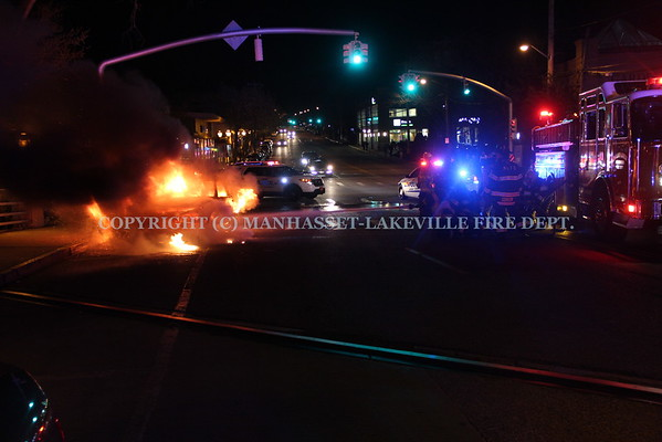 Manhasset-Lakeville F.D. Extinguishes Car Fire in Great Neck
